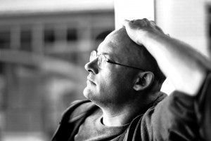 Clay Shirky in thought, courtesy Joi Ito&#039;s flickr photostream.